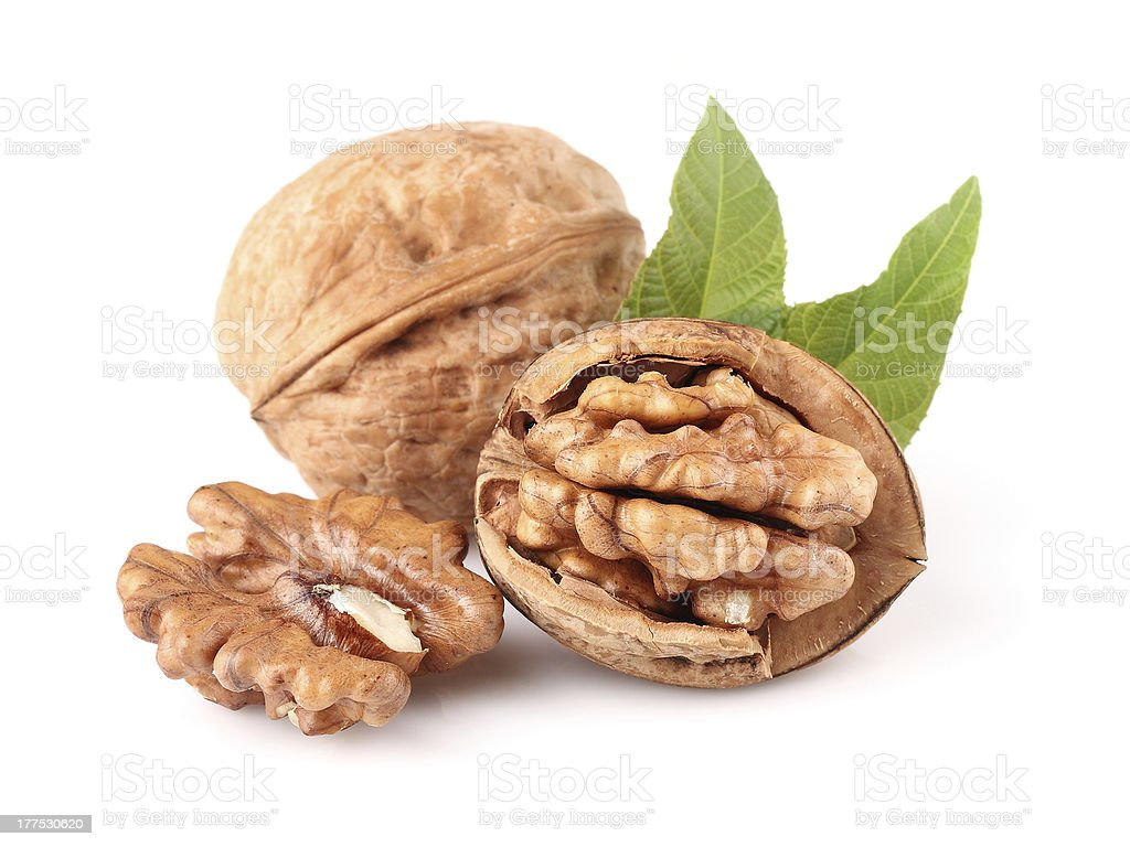 Dried walnuts stock photo