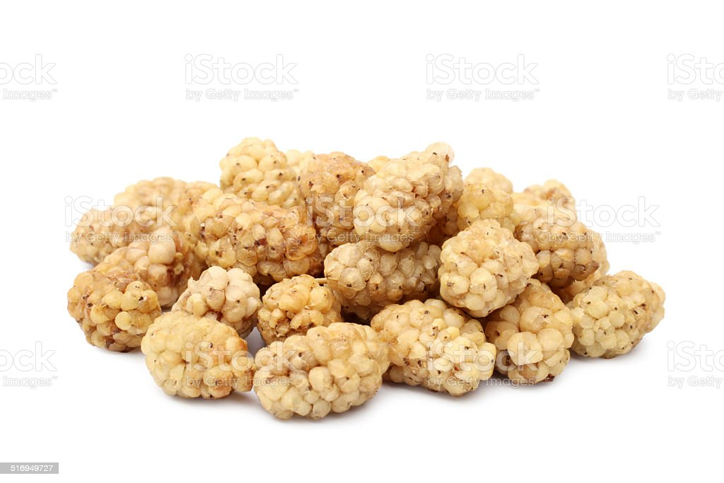 Dried white mulberries stock photo