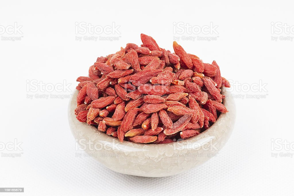 dried wolfberry fruit in bowl royalty-free stock photo