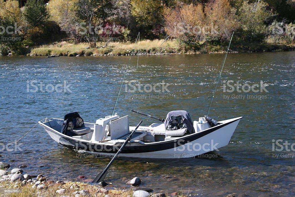 Drift boat at the ready royalty-free stock photo
