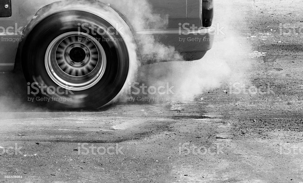 Drift, Burn tire stock photo