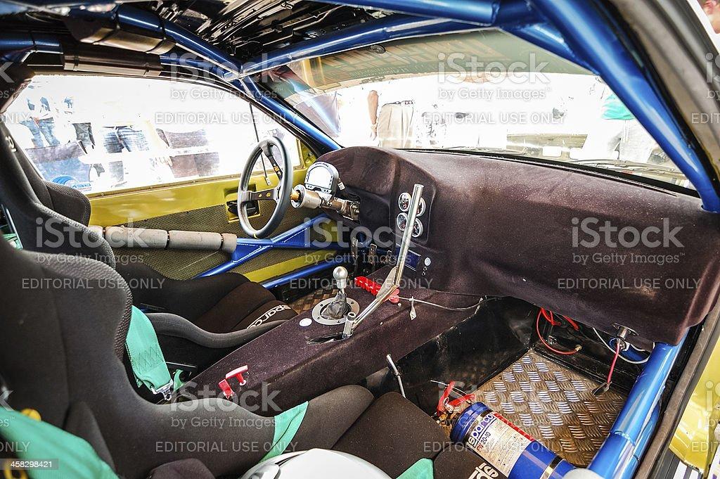 Drift car interior stock photo