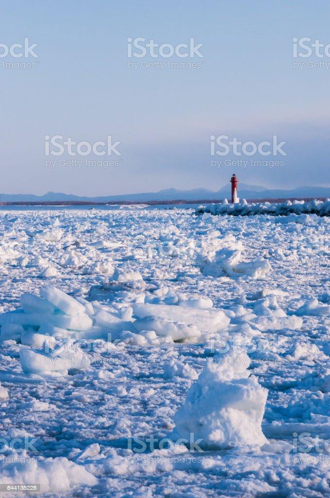 Drift Ice in Shiretoko stock photo