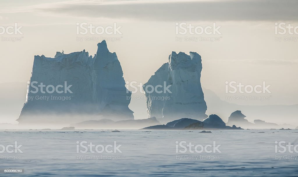 Drifting icebergs, Disko Bay, Greenland stock photo