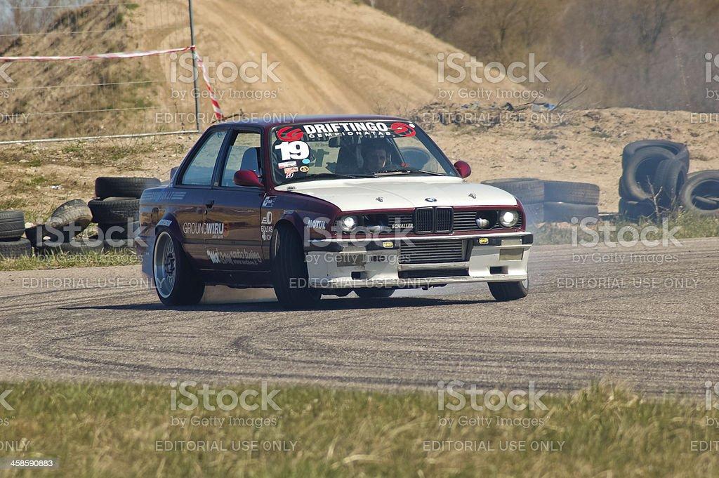BMW E30 drifting royalty-free stock photo
