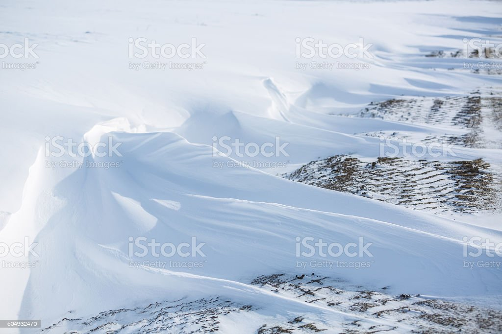 Drifts, snow kiddle, Winter road. stock photo