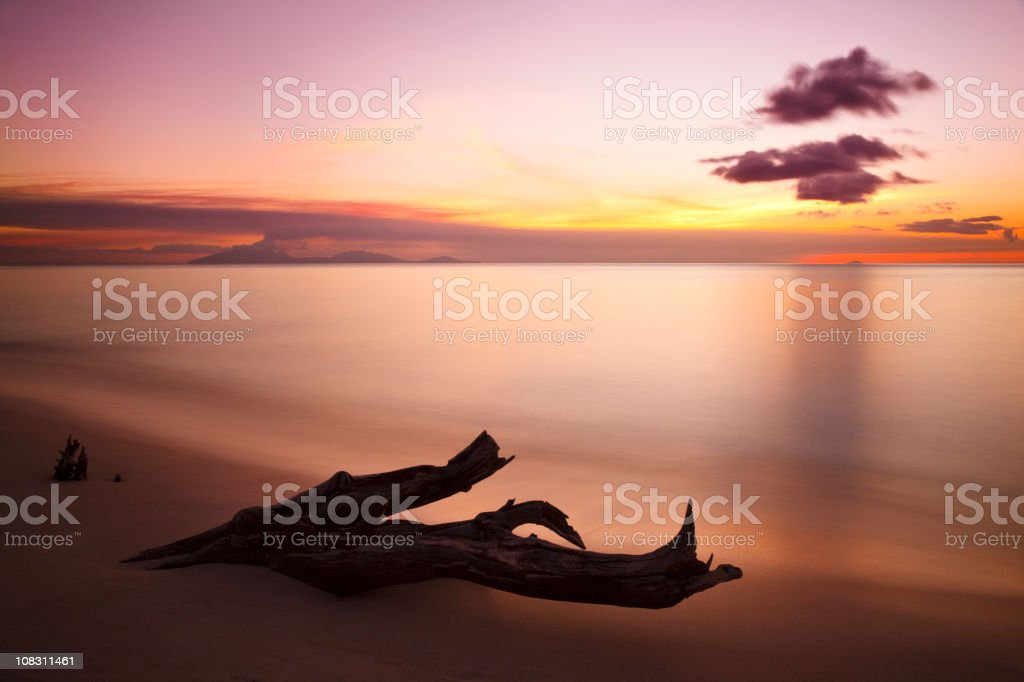 Driftwood And Montserrat Volcano At Sunset stock photo
