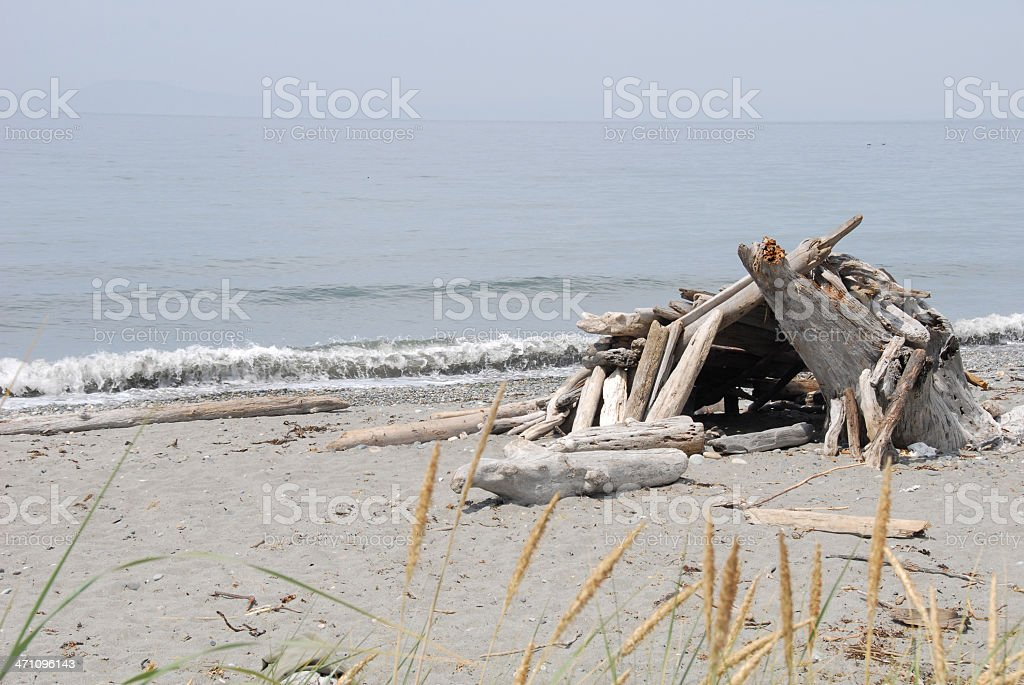 Driftwood Beach Shelter royalty-free stock photo