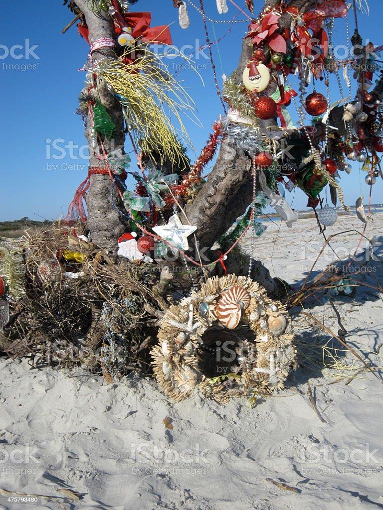 Driftwood Christmas Tree and Seashell Wreath stock photo
