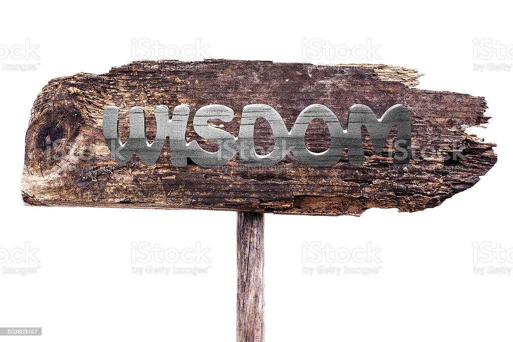 Driftwood Sign with Word WISDOM royalty-free stock photo