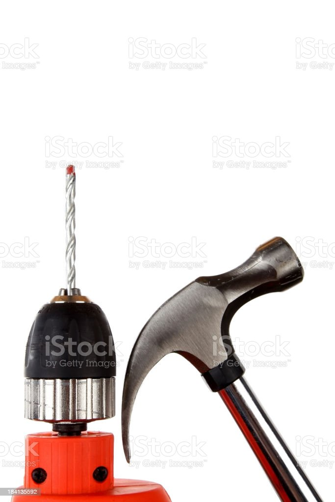 Drill and hammer royalty-free stock photo