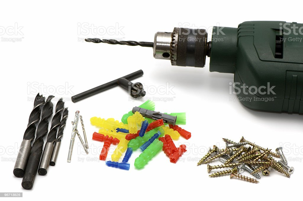 Drill and screws stock photo