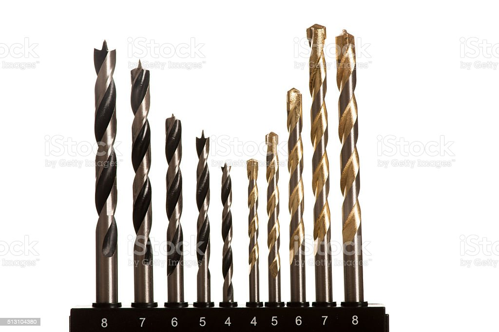 Drill bits for wood and concrete of different sizes stock photo