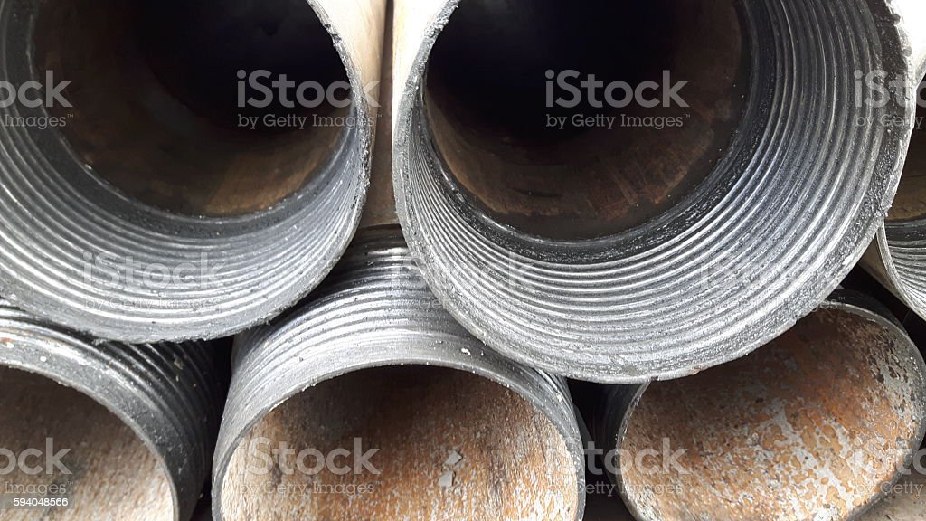 Drill Casing Pipes stock photo