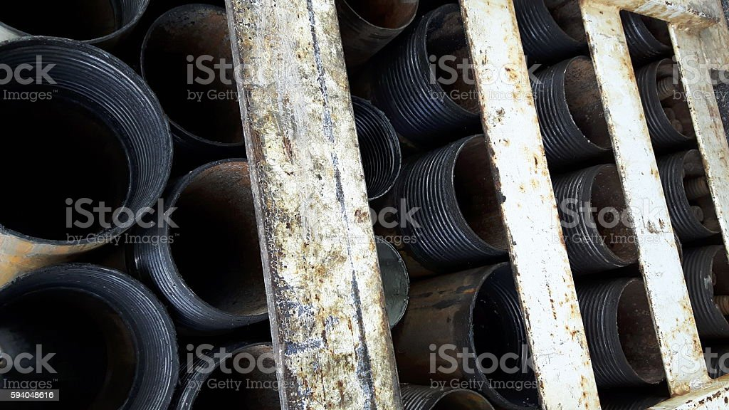 Drill Casing Rack stock photo
