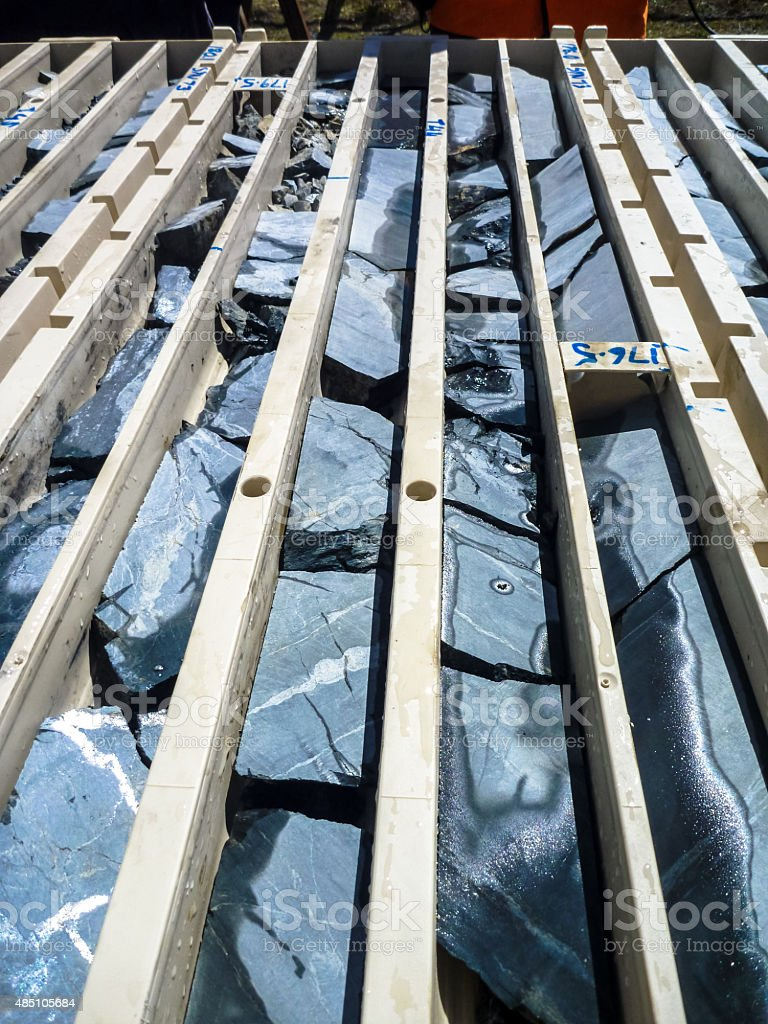 Drill core trays from gold deposit stock photo