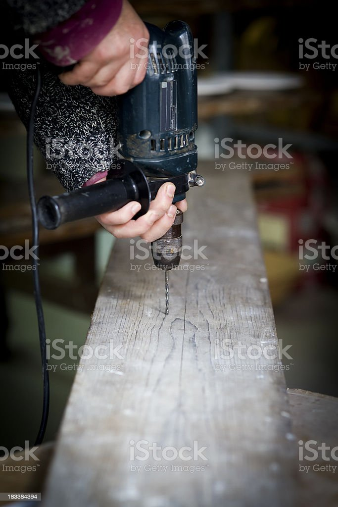 Drill holes in the wood royalty-free stock photo
