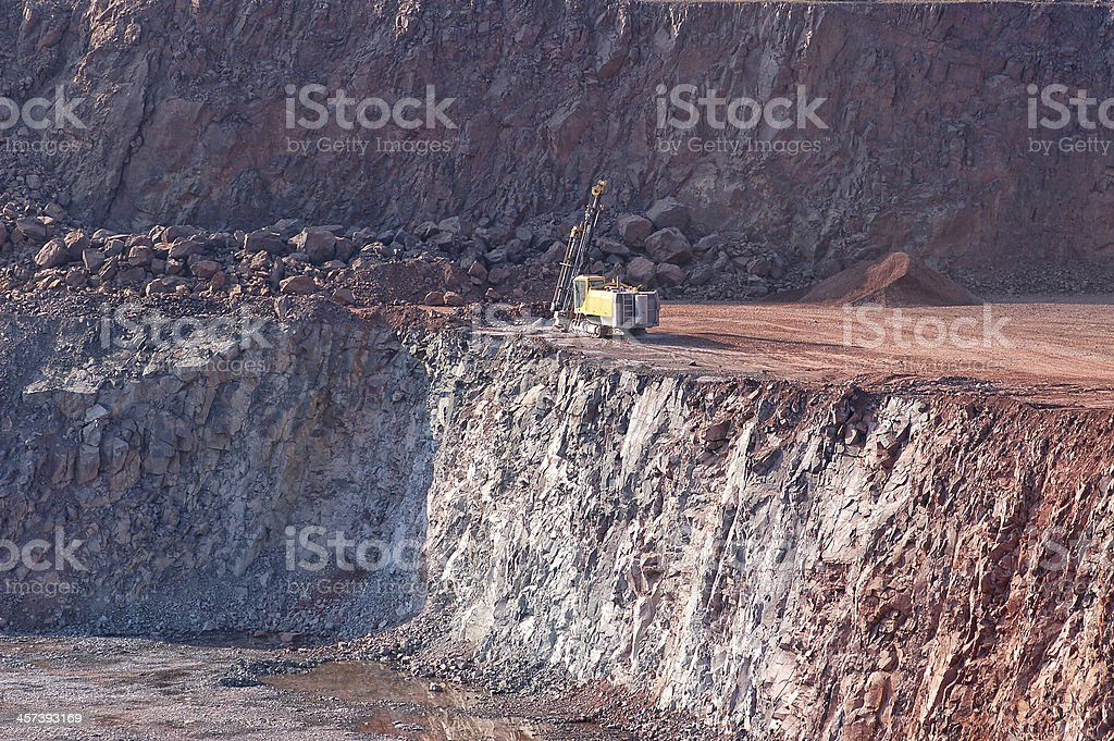 Drill in a quarry stock photo