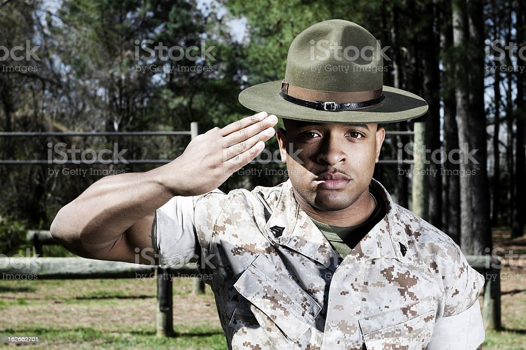 Drill Instructor Saluting royalty-free stock photo