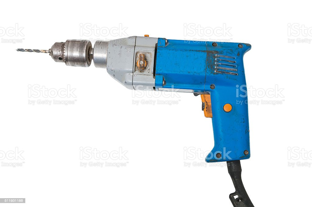 Drill isolated on white background. Maintenance concept. stock photo