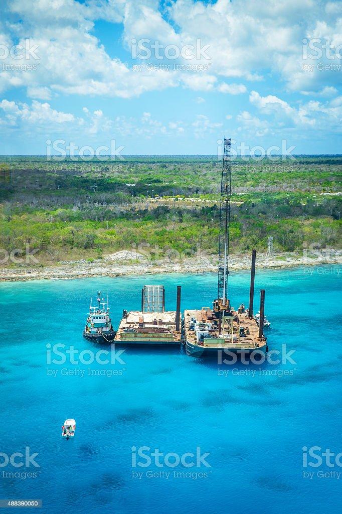 Drill on the sea near Cozumel stock photo