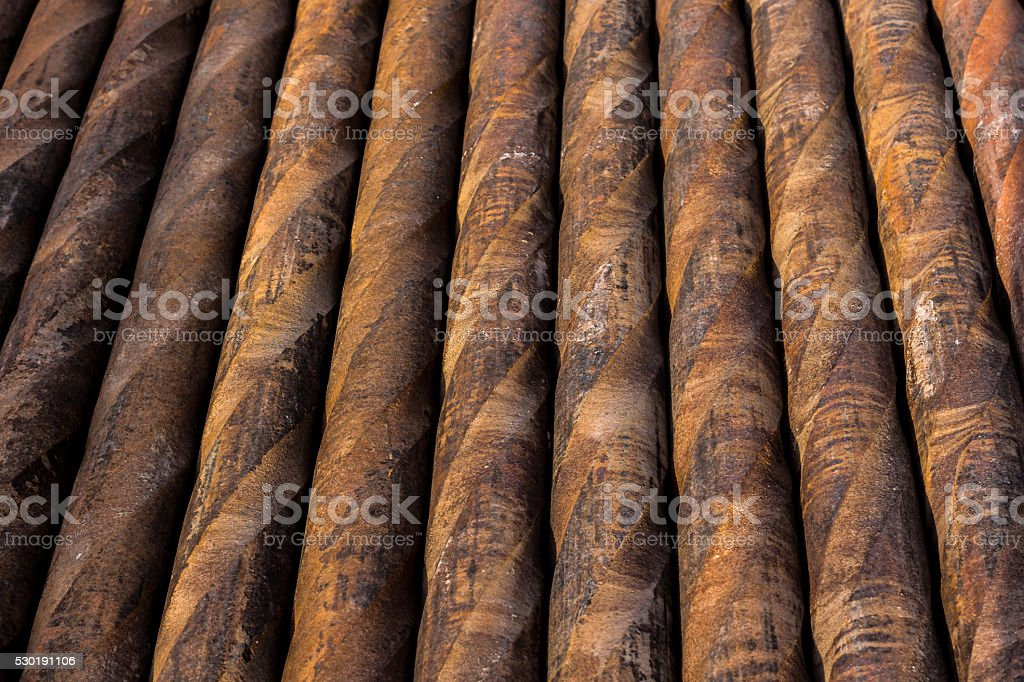 Drill pipes on rig site stock photo