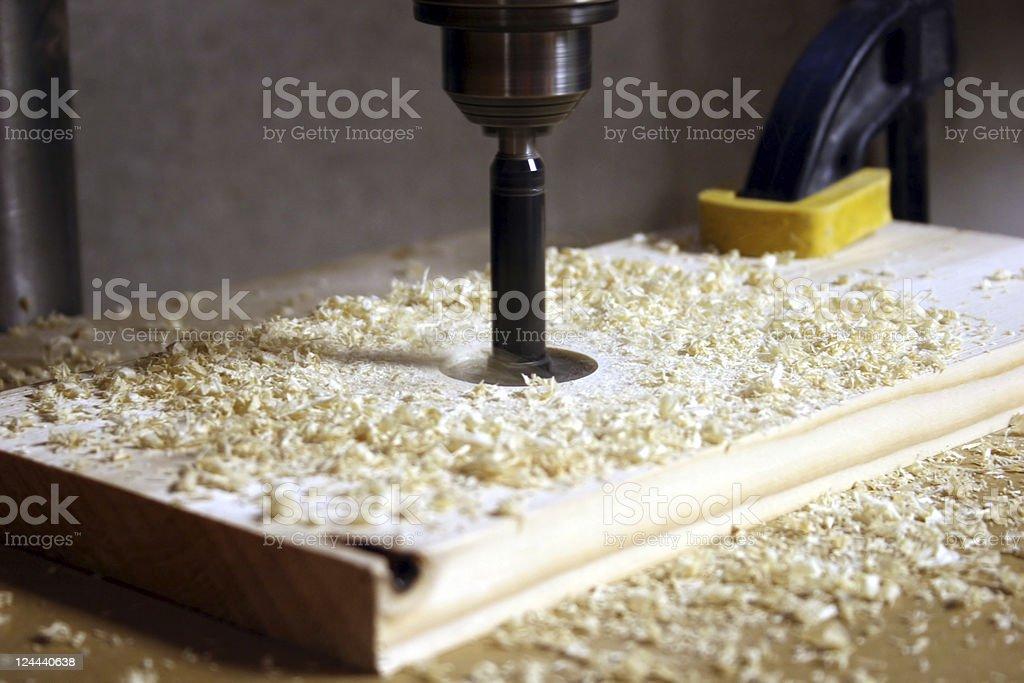 Drill Press and Forstner Bit stock photo