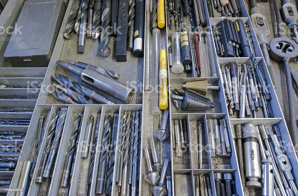 drill, screwplate, threader, reamer and other tools royalty-free stock photo