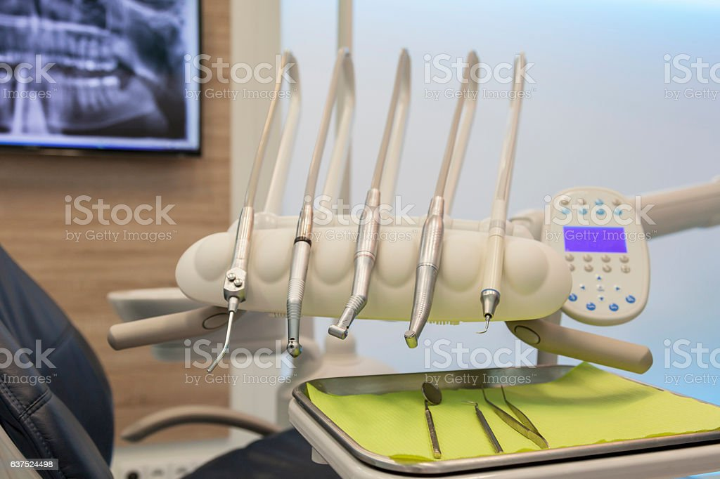 drill set at dental treatment room stock photo