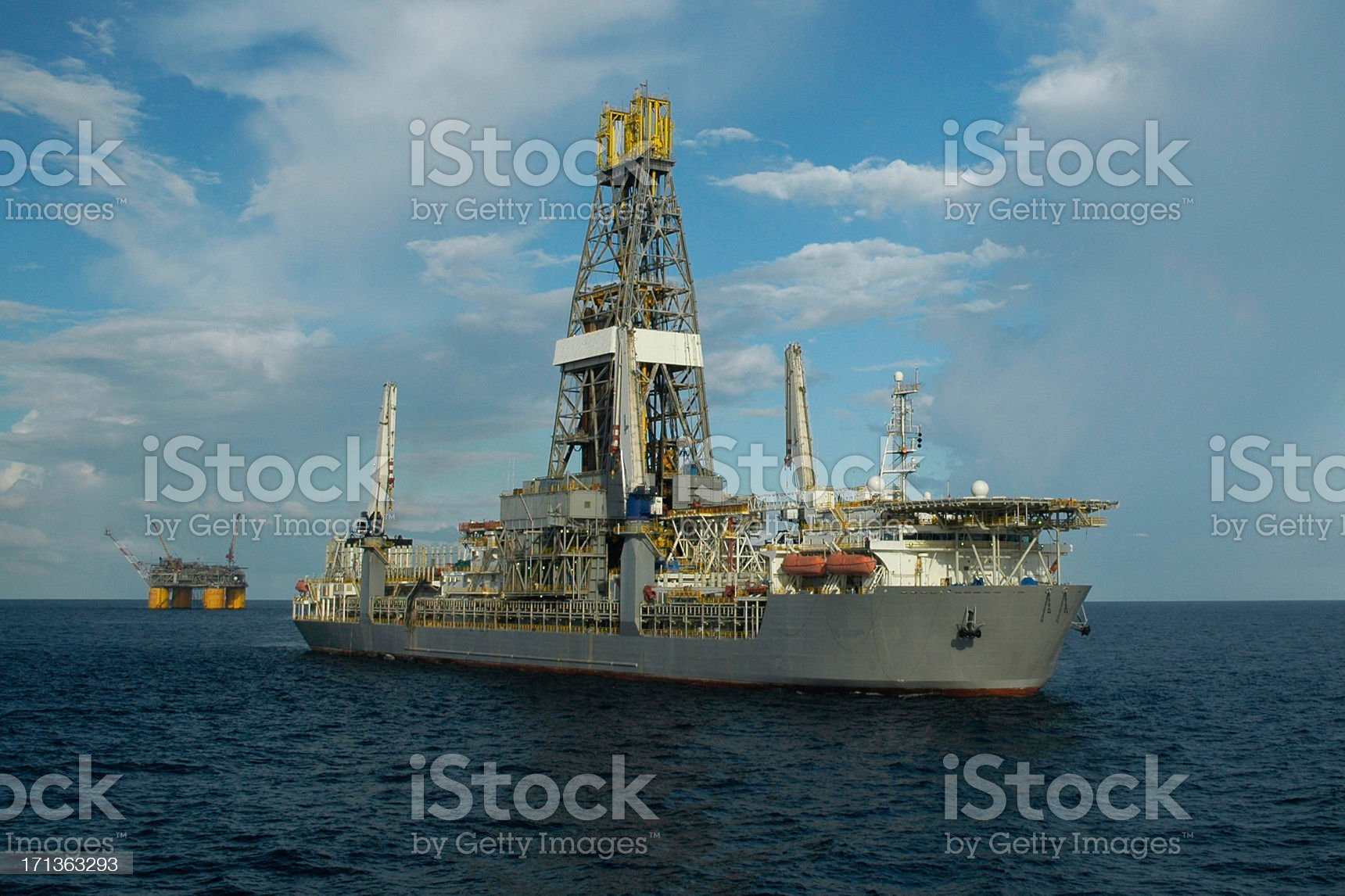 Drill ship and offshore production platform royalty-free stock photo