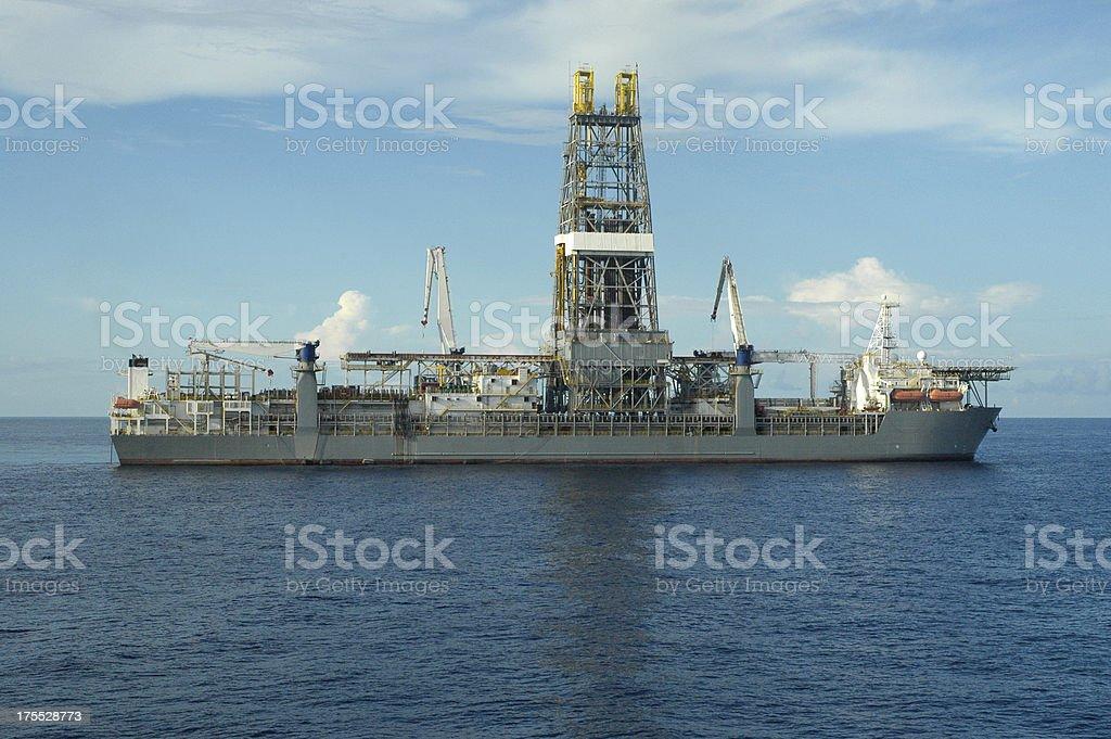 Drill ship at sea stock photo