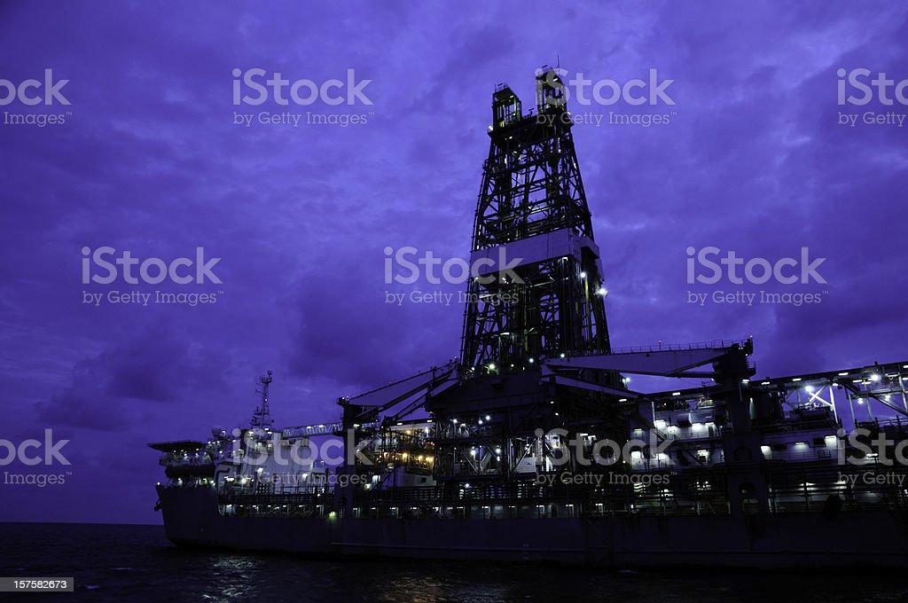 Drill ship at twilight royalty-free stock photo