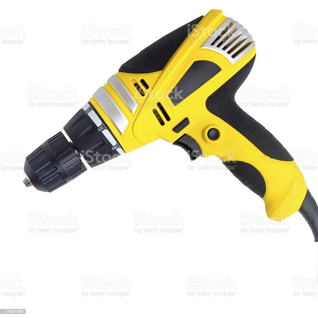 drill tool yellow isolated on white (clipping path) royalty-free stock photo