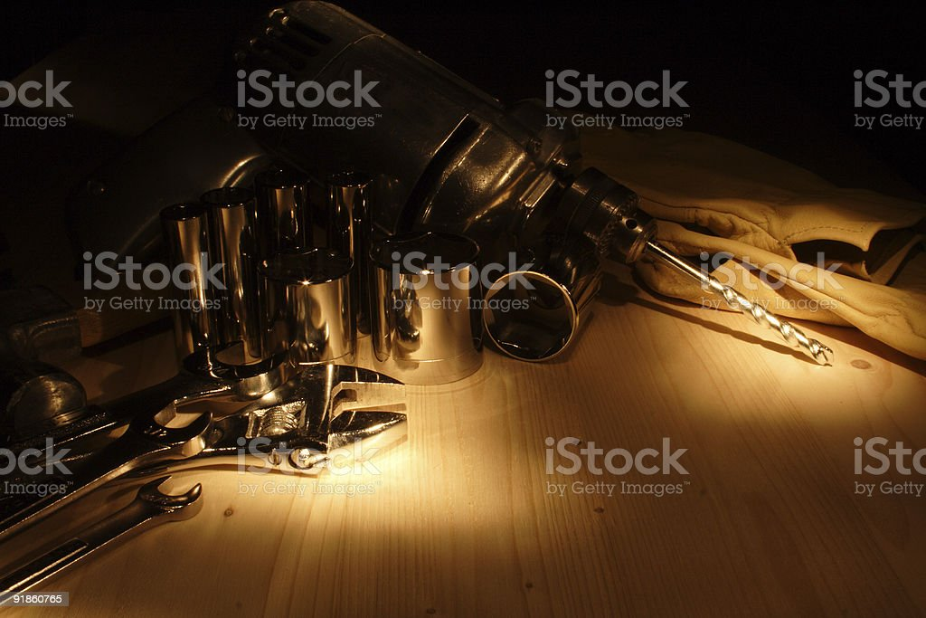 Drill wrenches and various tools stock photo