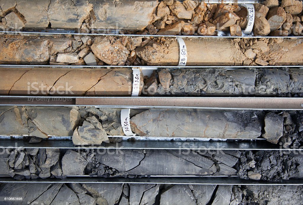 Drilled core samples stock photo