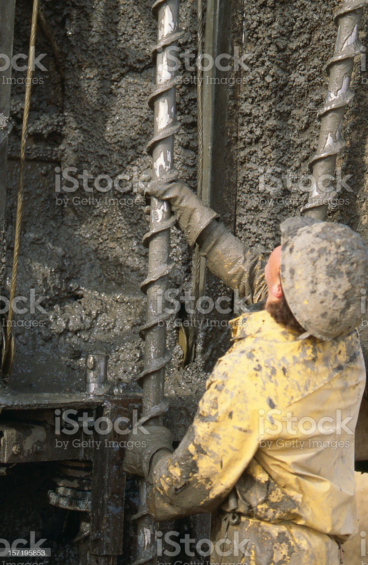Driller with Drill Pipe royalty-free stock photo