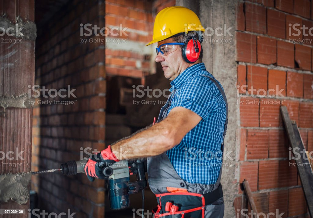 Drilling at construction site stock photo