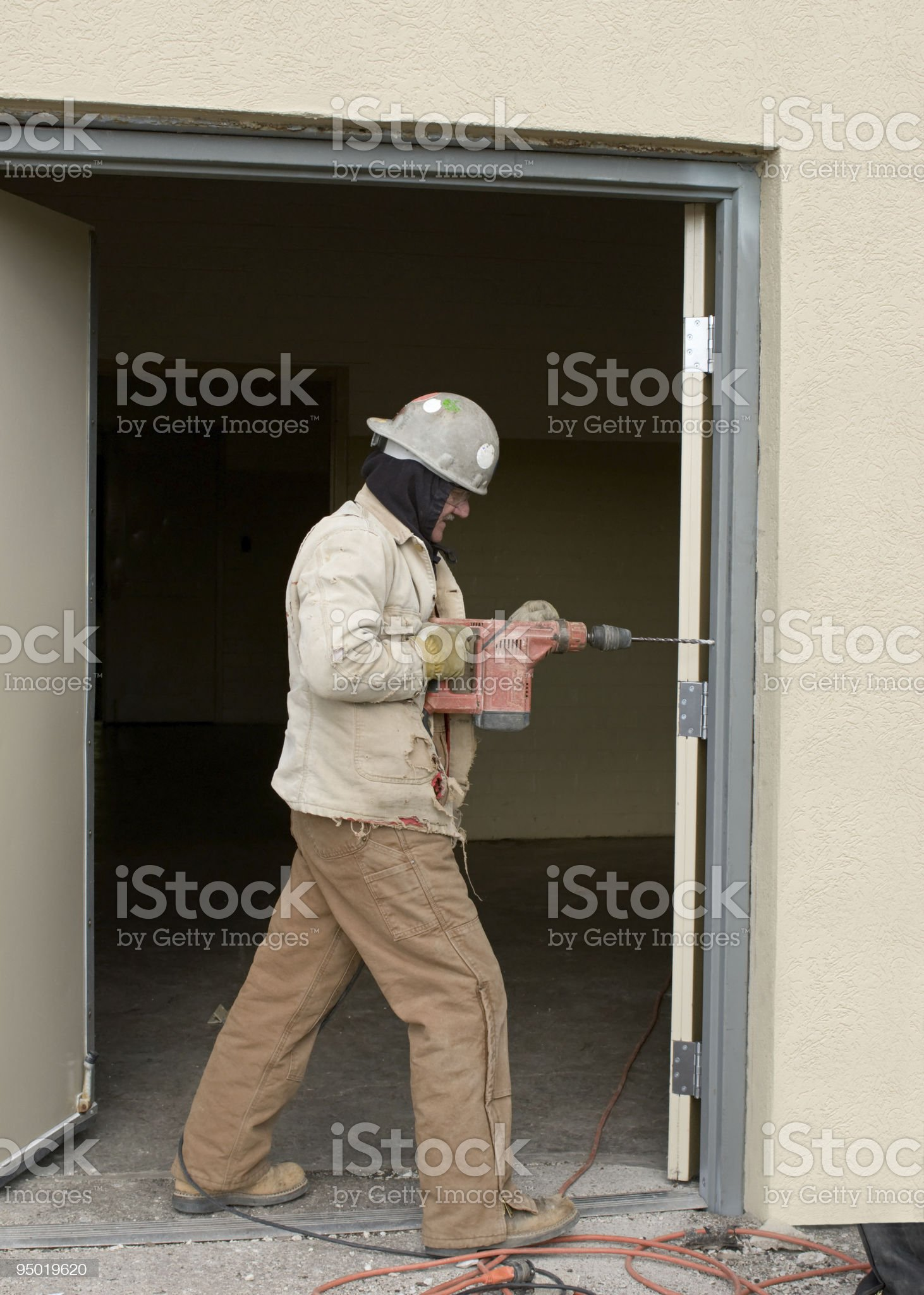 Drilling Door Frame royalty-free stock photo