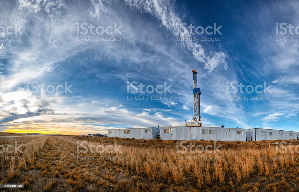 Drilling Fracking Rig Panoramic stock photo