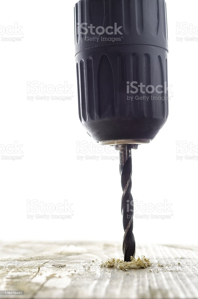 Drilling in a wooden plank royalty-free stock photo