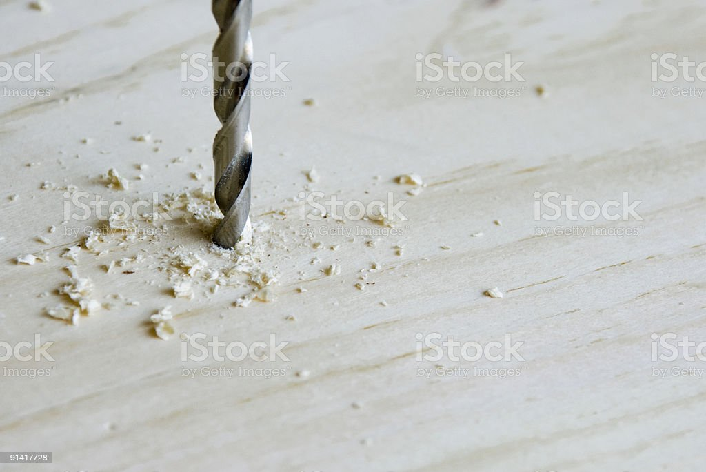 Drilling in Pine stock photo