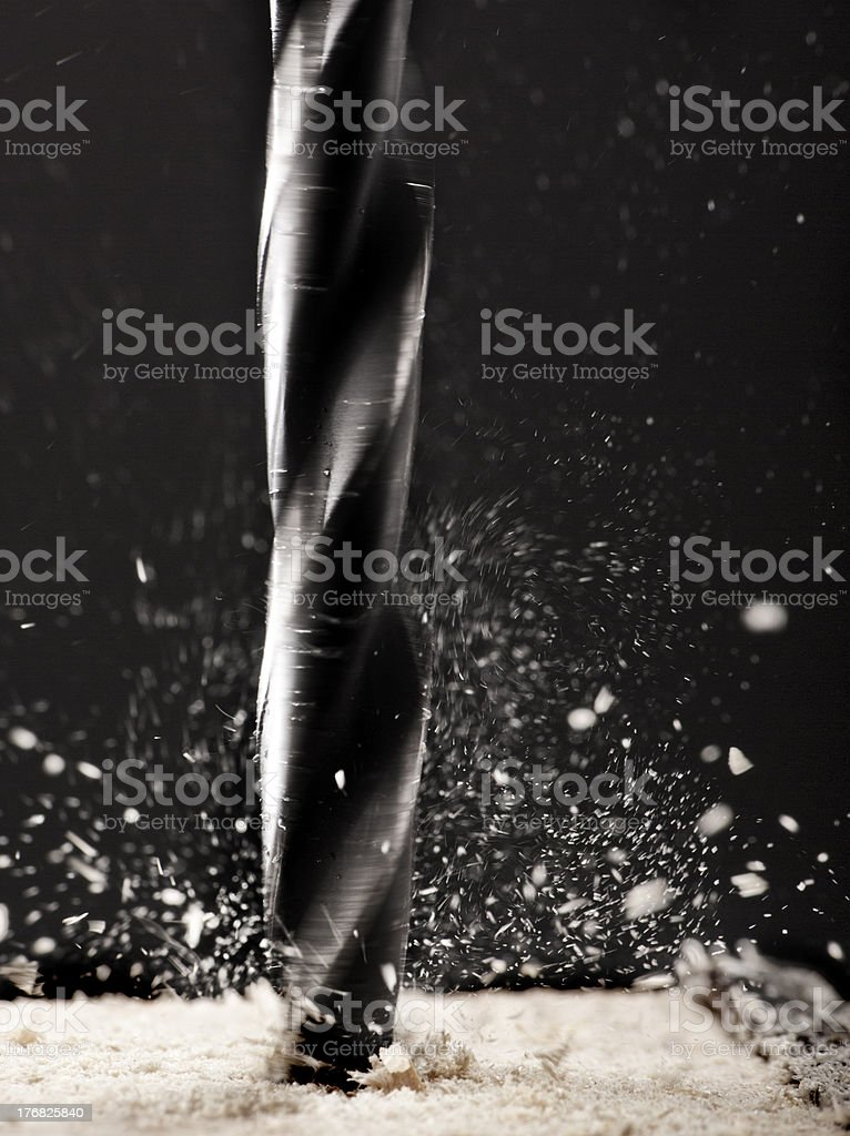 Drilling into wod stock photo