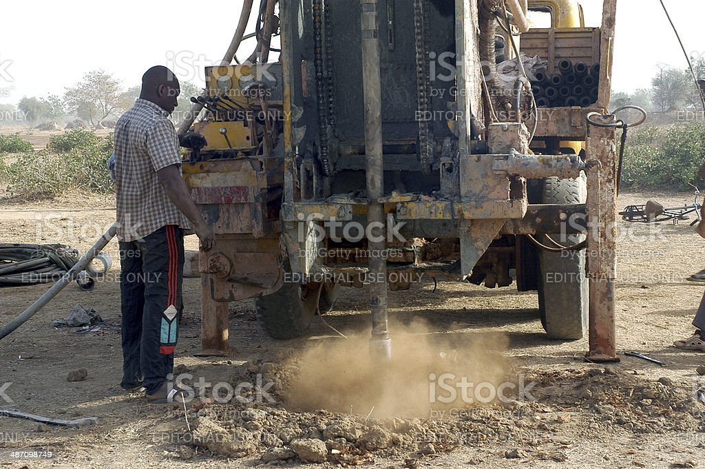 Drilling of a well in Burkina Faso royalty-free stock photo