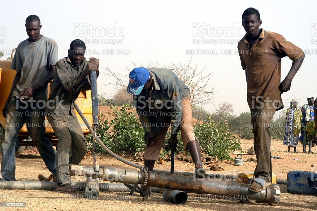 Drilling of a well in Burkina Faso stock photo