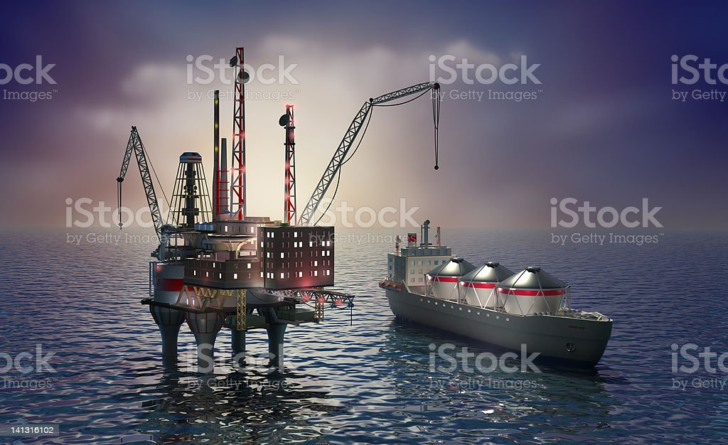 Drilling offshore platform and tanker stock photo
