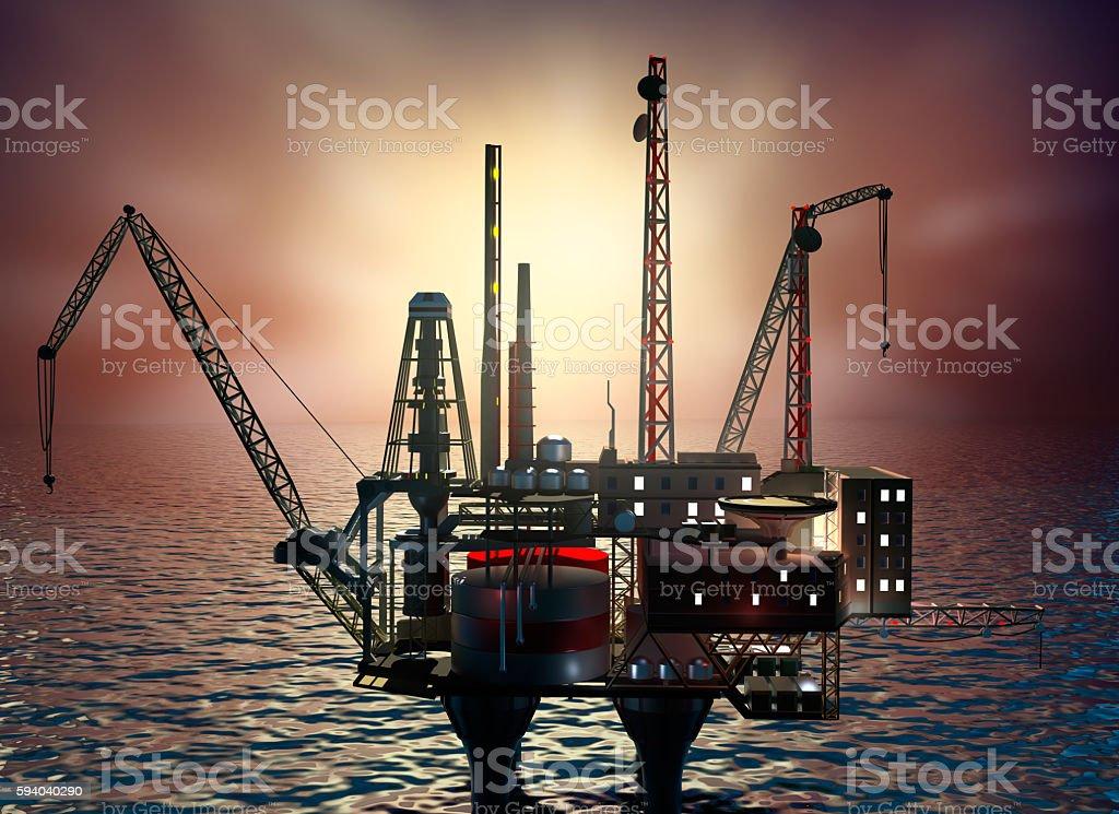 Drilling offshore Platform in night sea. 3D illustration stock photo