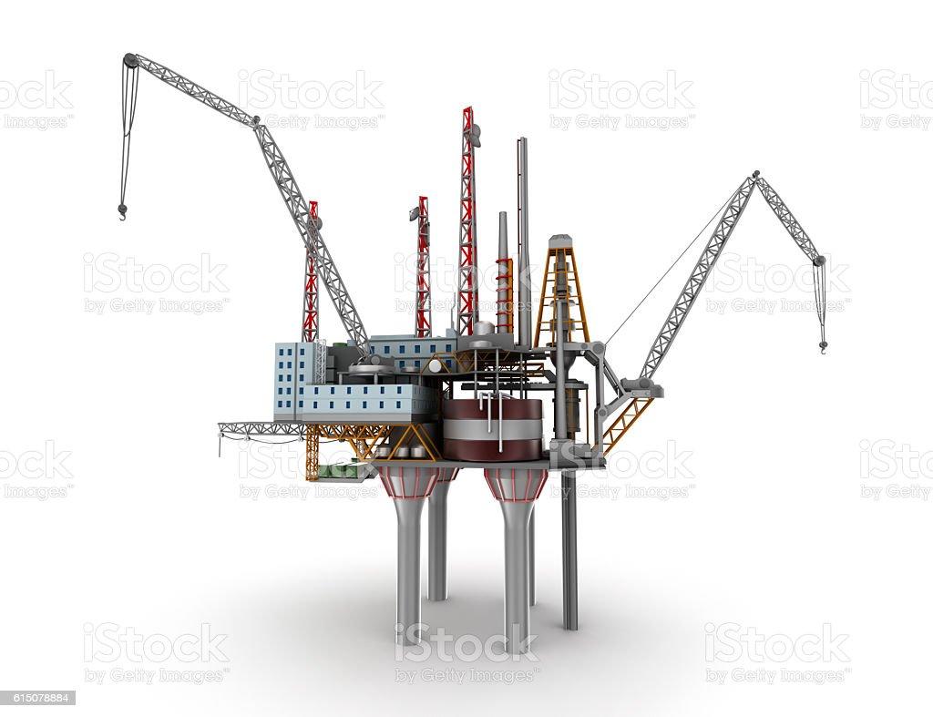 Drilling offshore Platform isolated on white. 3D illustration stock photo