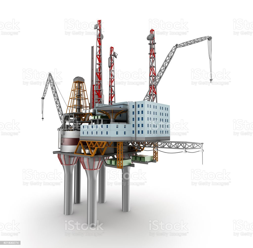 Drilling offshore Platform over white. 3D illustration stock photo