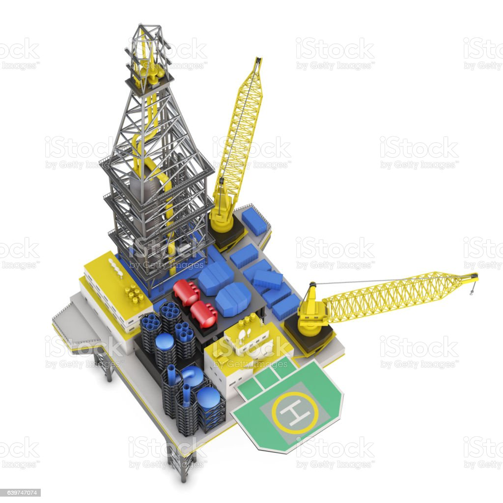 Drilling offshore platform top view isolated. 3d rendering stock photo