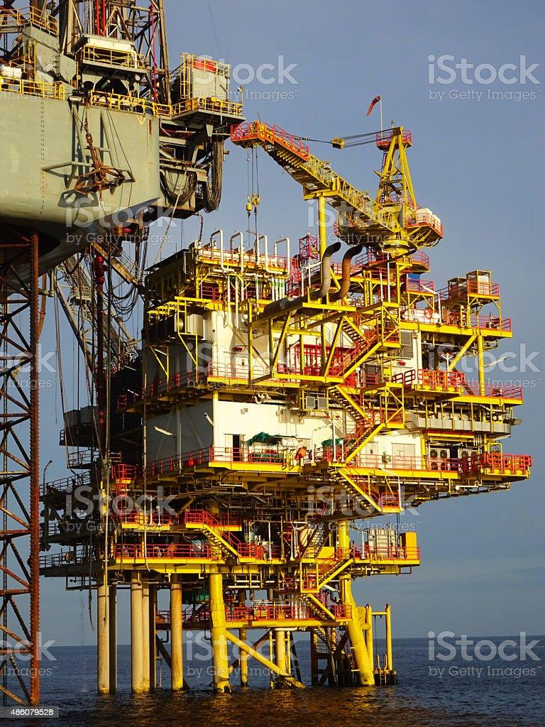 Drilling on a platform stock photo